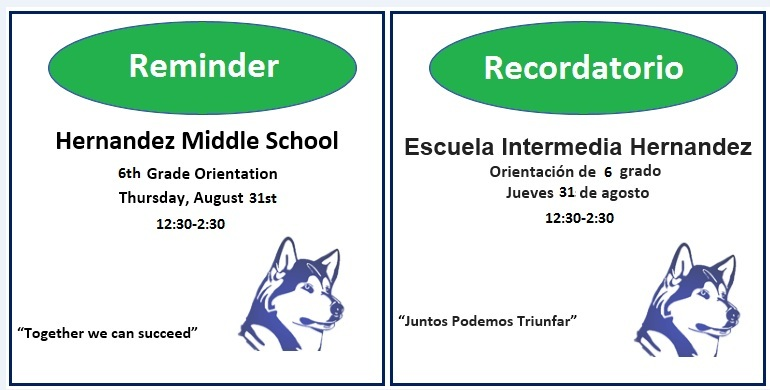 Reminder:  6th Grade Orientation Tomorrow!!!